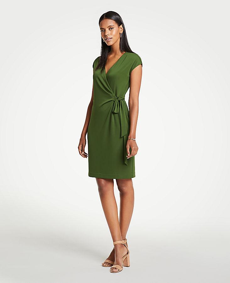 Petite Cap Sleeve Wrap Dress