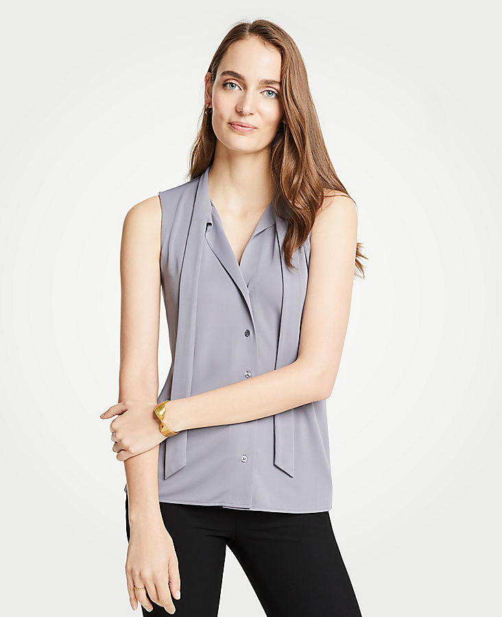 Petite Tie Neck Button Front Shell