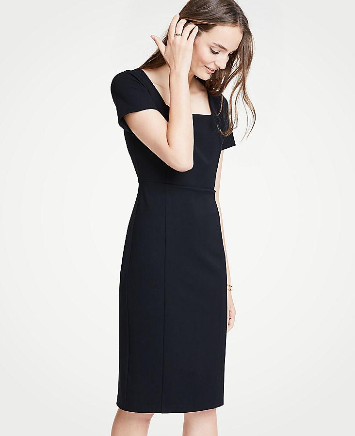 Petite Square Neck Ponte Sheath Dress