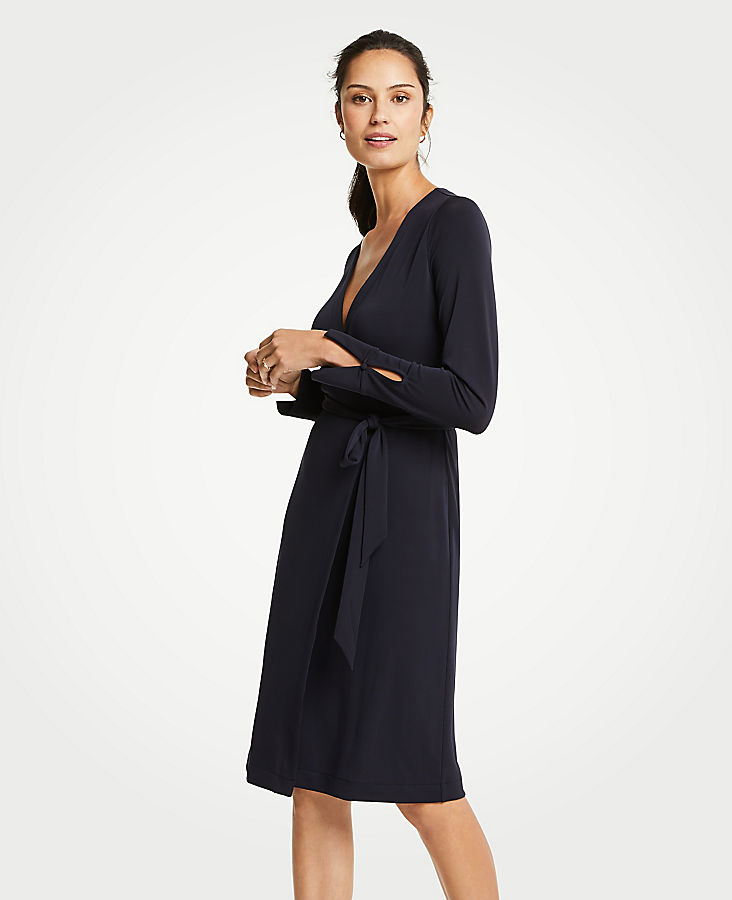 Tall Button Cuff Wrap Dress | Tuggl