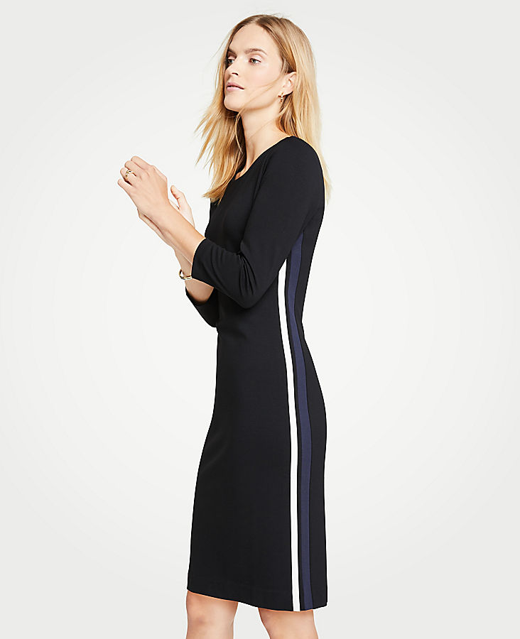 Petite Side Stripe Ponte Sheath Dress