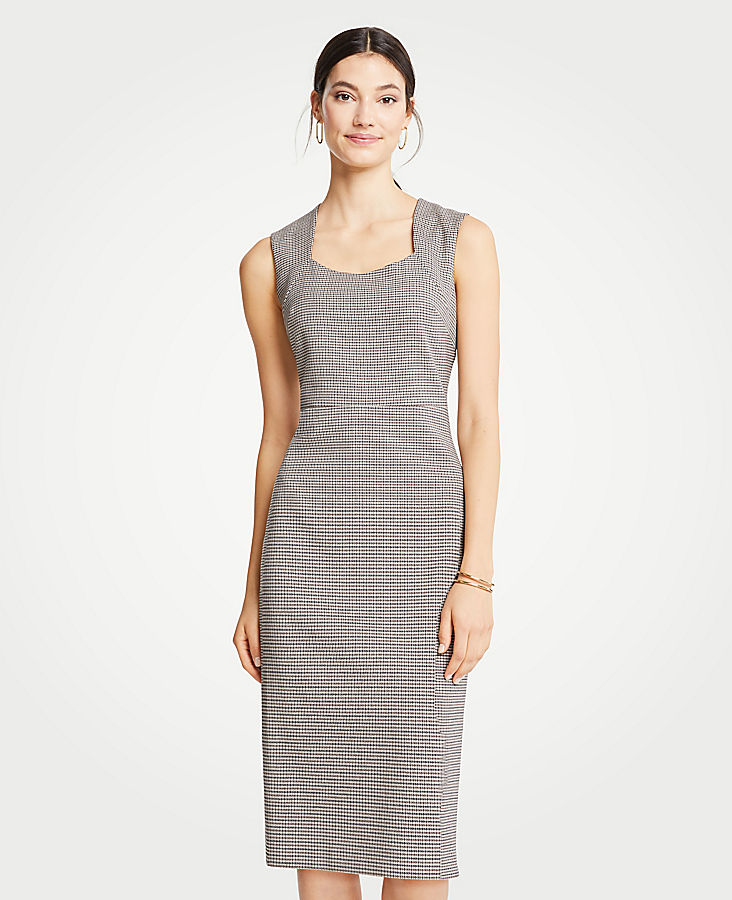 Petite Houndstooth Square Neck Sheath Dress