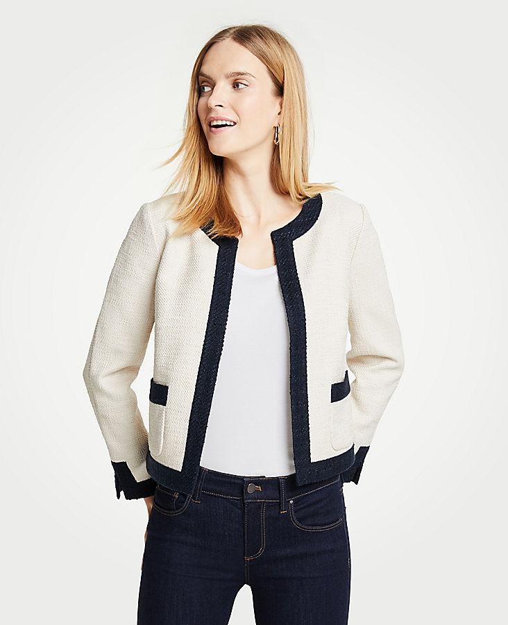 Petite Textured Open Jacket