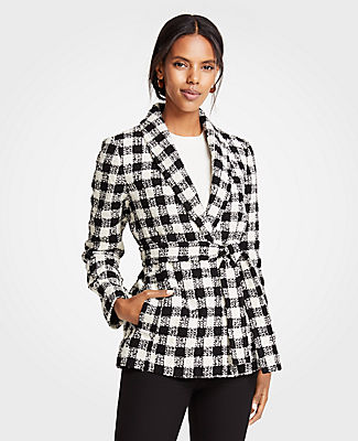 ANN TAYLOR Petite Checked Belted Jacket in Black / White