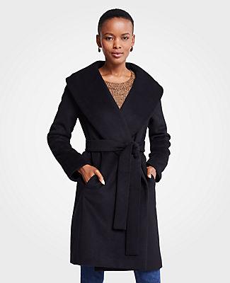 Petite Shawl Collar Wrap Coat, Black from ANN TAYLOR