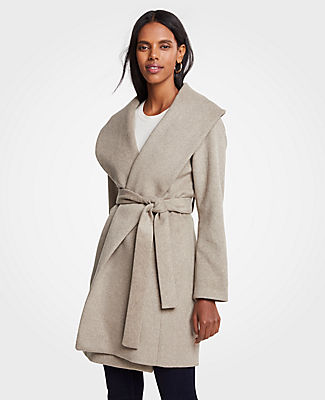 Petite Shawl Collar Wrap Coat, Taupe from ANN TAYLOR