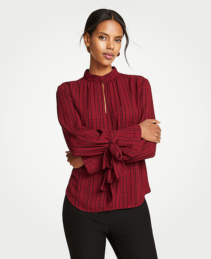 Plaid Bow Cuff Blouse | Tuggl