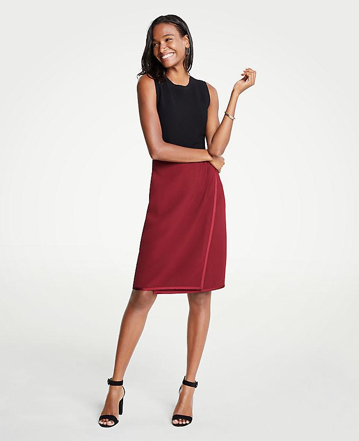 Petite Satin Trim Wrap Pencil Skirt