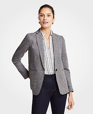 ANN TAYLOR Petite Doubleface One Button Blazer in Medium Grey Melange