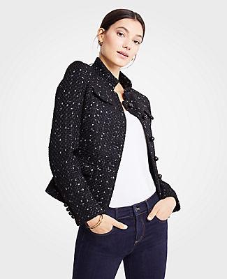Petite Tweed Military Jacket, Black from ANN TAYLOR