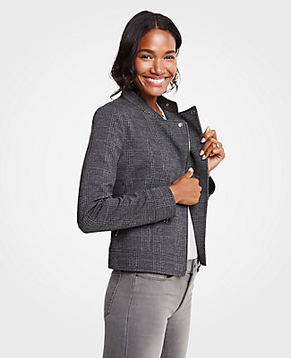 Petite Plaid Knit Moto Jacket, Grey Plaid from ANN TAYLOR