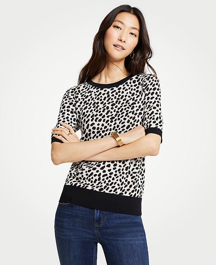 Petite Leopard Print Short Sleeve Sweater