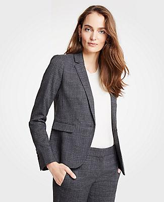 ANN TAYLOR Petite Crosshatch One Button Blazer in Grey Plaid