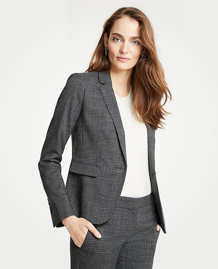 Tall Crosshatch One Button Blazer | Tuggl