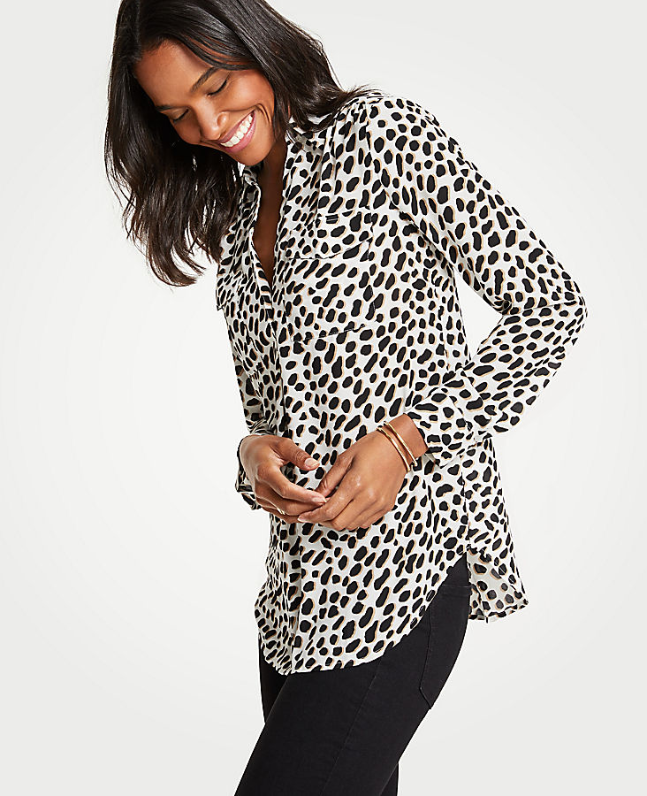 Petite Cheetah Dot Camp Shirt