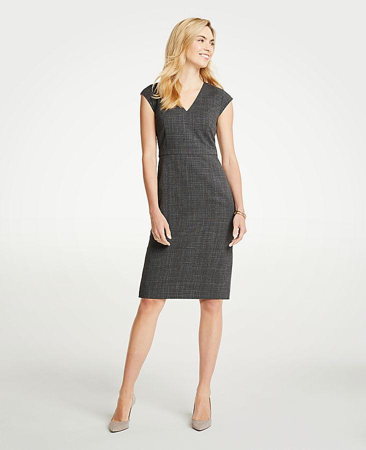 Petite Crosshatch V-Neck Sheath Dress