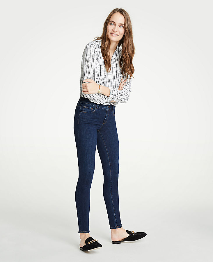 Petite Modern All Day Skinny Jeans In Mid Indigo Wash