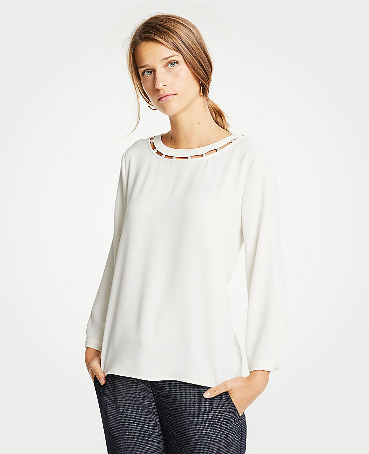Petite Pearlized Inset Blouse