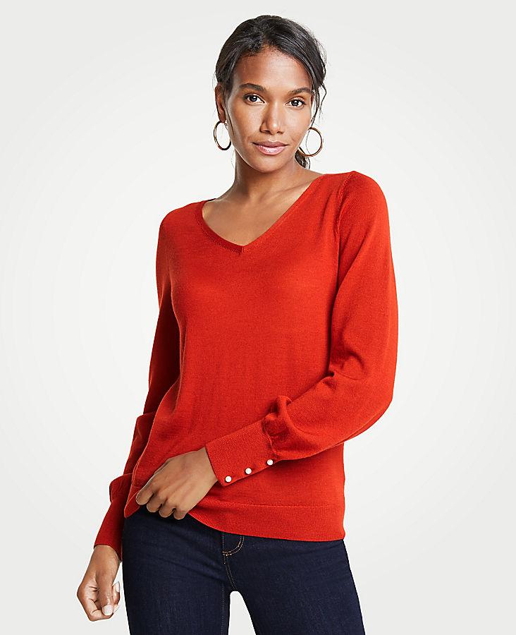 Petite Pearlized Cuff V-Neck Sweater