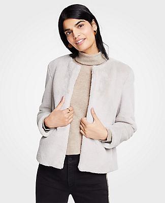 ANN TAYLOR Petite Faux Fur Jacket in Stargaze Grey