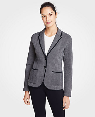 ANN TAYLOR Petite Herringbone Two Button Sweater Blazer in Black
