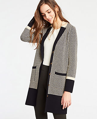 Petite Colorblock Plaid Coatigan in Morning Sand from ANN TAYLOR