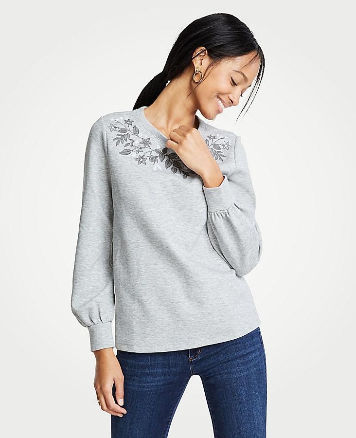Petite Embroidered Floral Sweatshirt