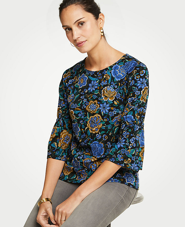 Petite Floral Ponte Gathered Sleeve Top