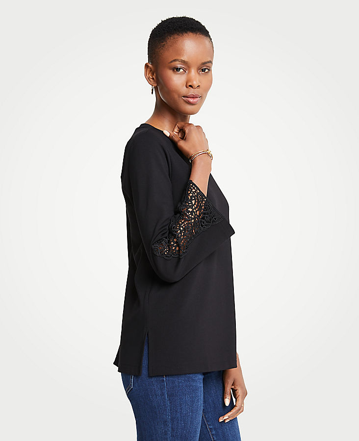 Petite Lace Sleeve Ponte Top