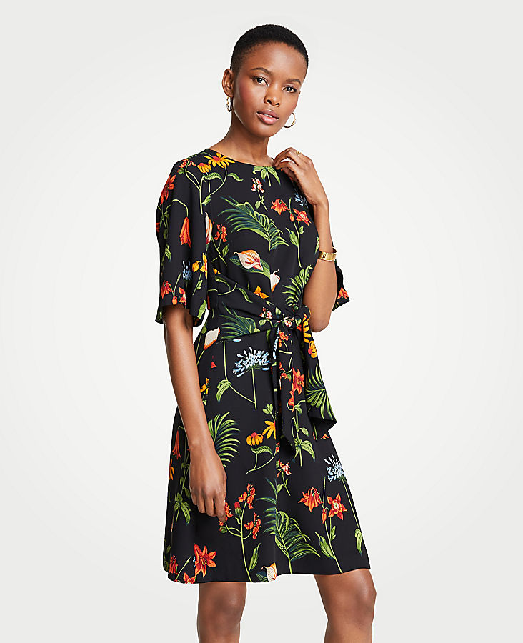 Petite Wild Botanical Tie Front Flare Dress