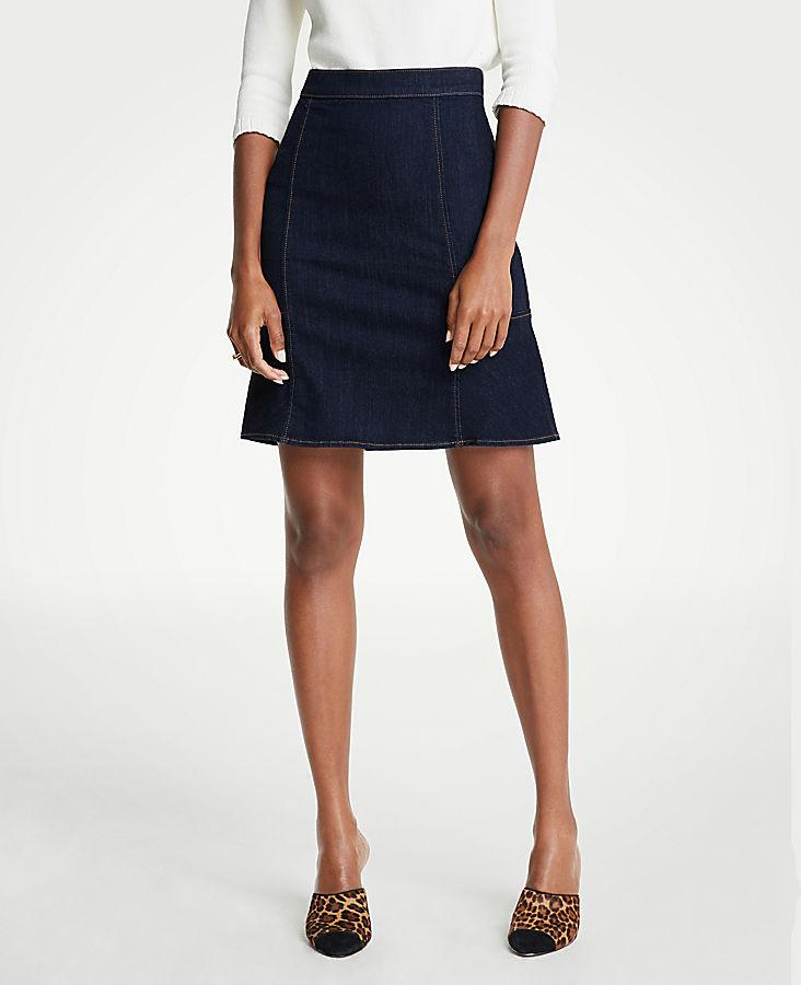 Petite Denim Flare Skirt