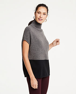 Colorblock Mock Neck Poncho, Black from ANN TAYLOR