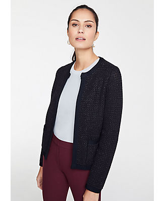 Petite Shimmer Pocket Sweater Jacket in Black from ANN TAYLOR