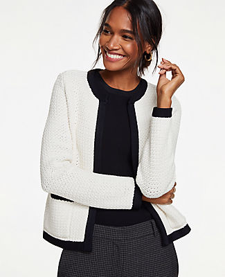 Shimmer Pocket Sweater Jacket in Winter White from ANN TAYLOR