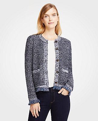 ANN TAYLOR Petite Sequin Fringe Tweed Jacket in Night Sky