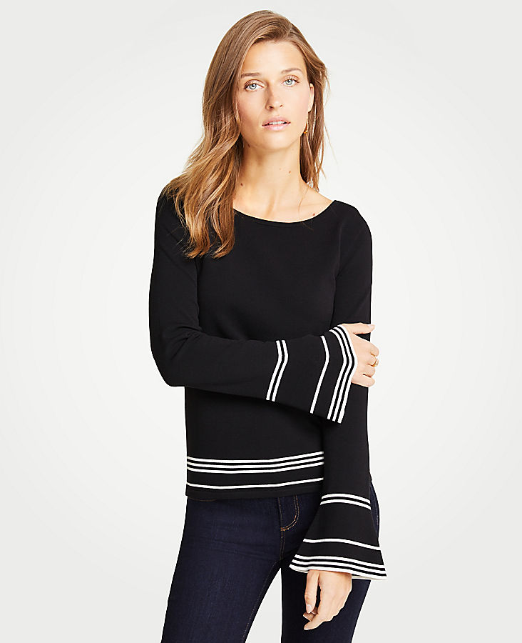 Petite Striped Flare Sleeve Sweater | Tuggl