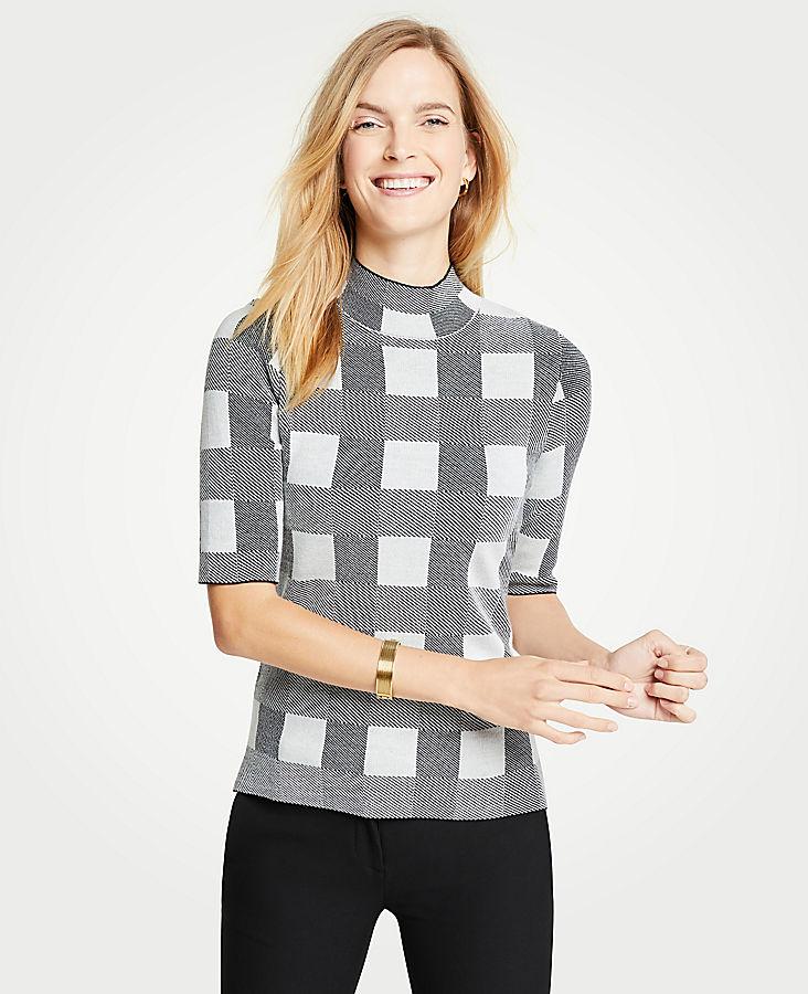 Petite Plaid Mock Neck Elbow Sleeve Sweater