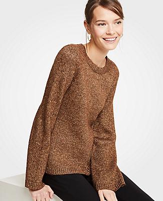 Ann Taylor Petite Metallic Flare Sleeve Sweater 25968835