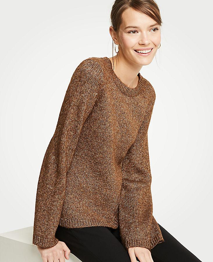 Petite Metallic Flare Sleeve Sweater