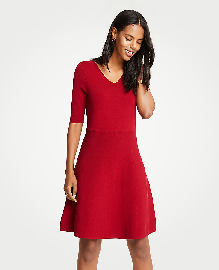 Ann Taylor petite-wide-v-neck-flare-sweater-dress