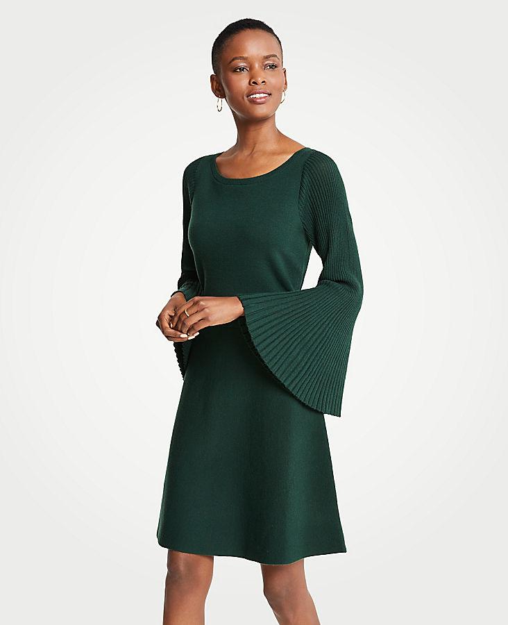 Petite Pleated Flare Sleeve Sweater Dress