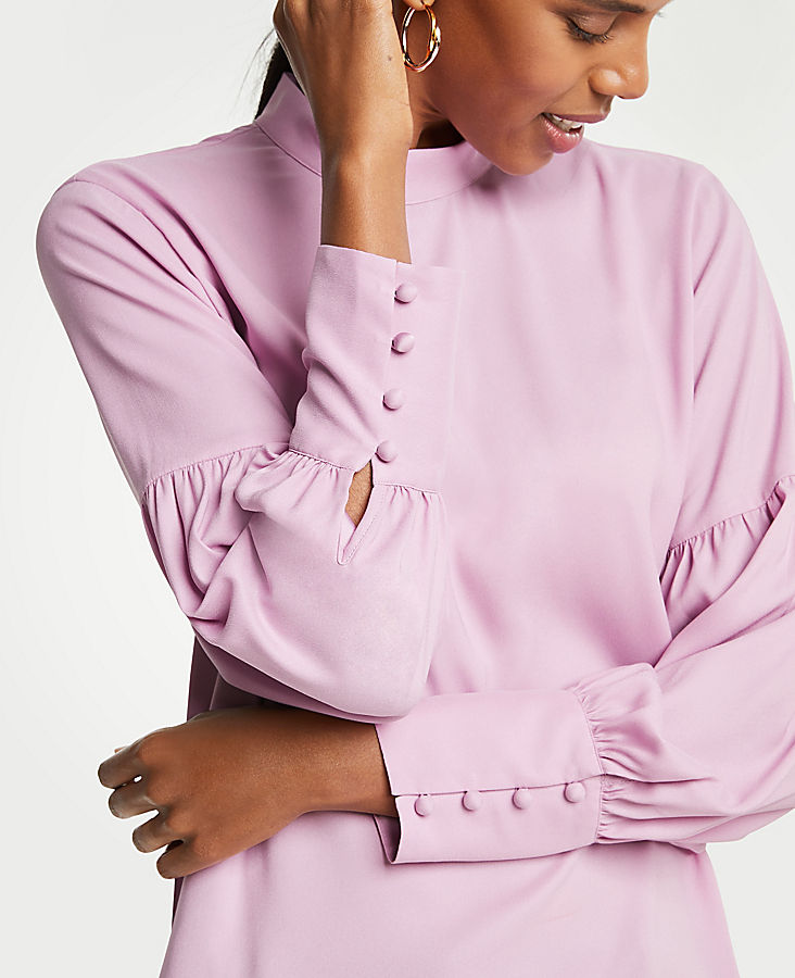 7f80310a1 Ann Taylor has lots of styles in Orchid besides this fab lantern sleeve  blouse. One of my go to stores for sweaters is Banana Republic, it seems  like every ...