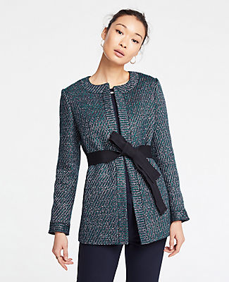 Petite Belted Tweed Jacket in Green Multi from ANN TAYLOR