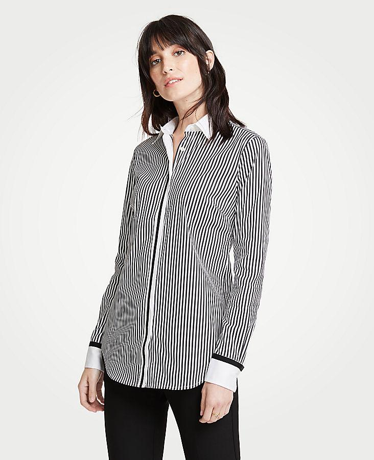 Petite Grosgrain Striped Perfect Shirt