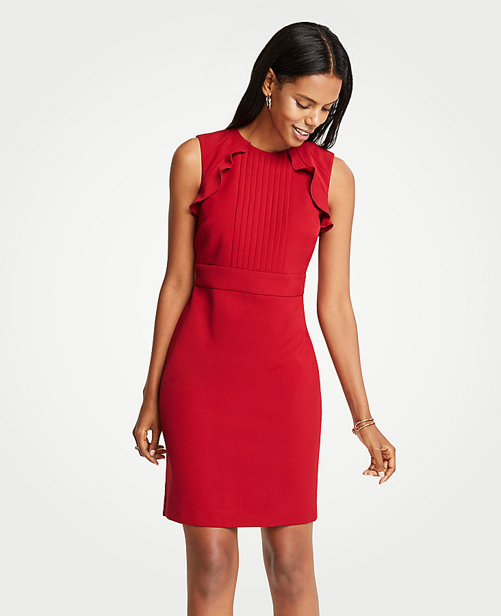 Petite Pleated Ruffle Sheath Dress | Tuggl