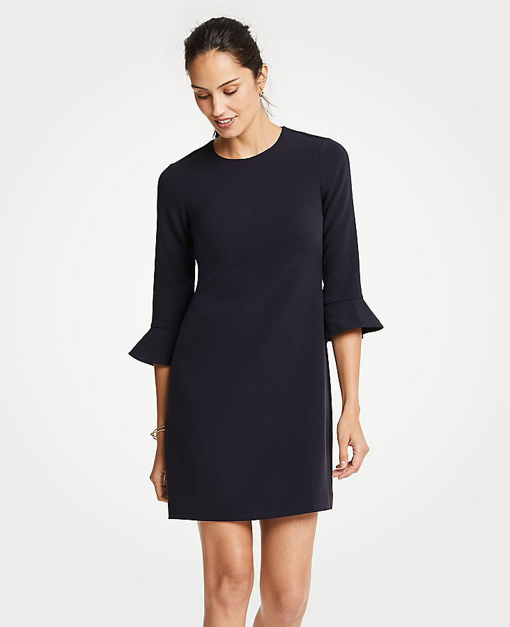 Petite Doubleweave Fluted Sleeve Shift Dress