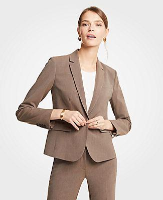 Petite Seasonless Stretch One Button Jacket, Brown Melange from ANN TAYLOR