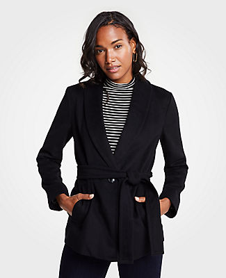 Petite Shawl Collar Belted Coat, Black from ANN TAYLOR