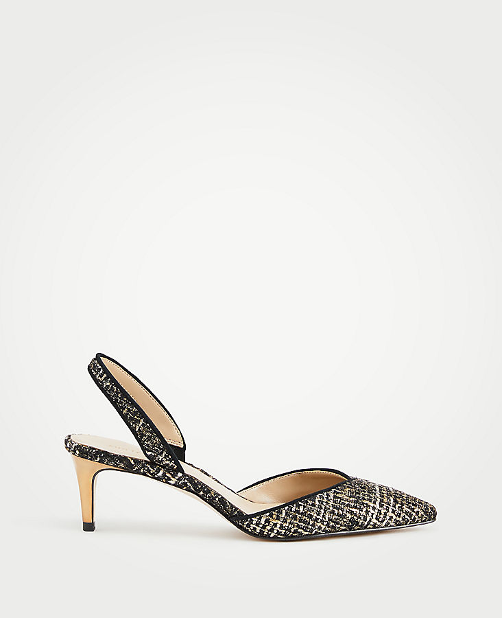 Elora Tweed Slingback Pumps | Tuggl