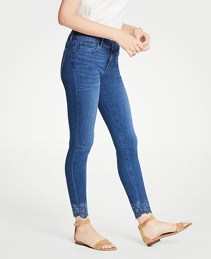 Petite Curvy Embroidered Floral All Day Skinny Jeans | Tuggl